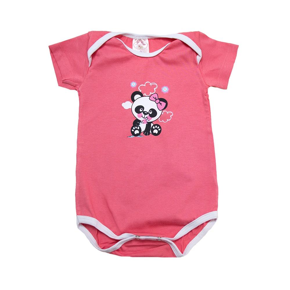Body Bebê Panda Salmão Com Branco  - Jeito Infantil