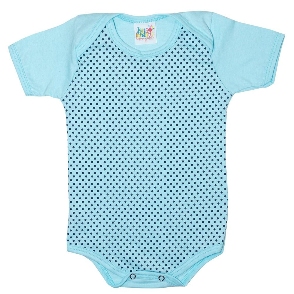 Body Bebê Poá Azul  - Jeito Infantil