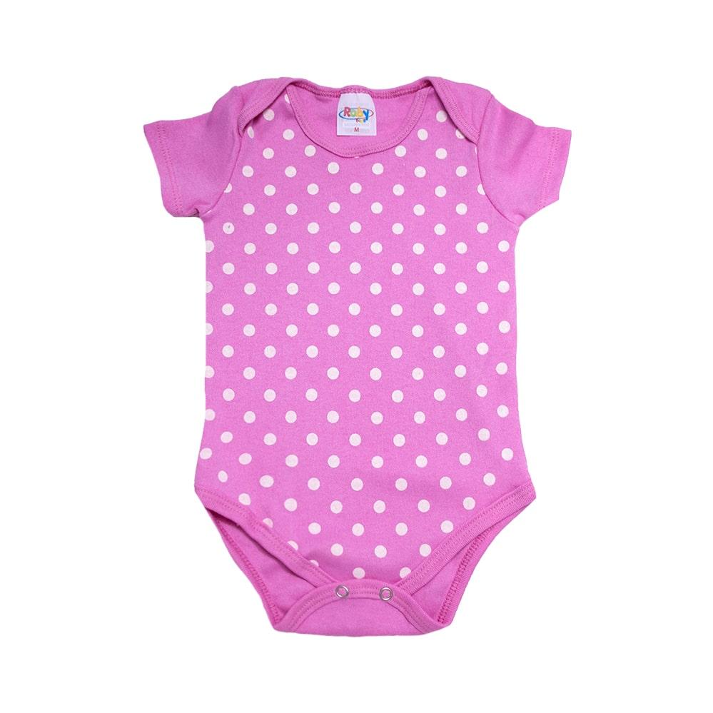 Body Bebê Poá Pink  - Jeito Infantil