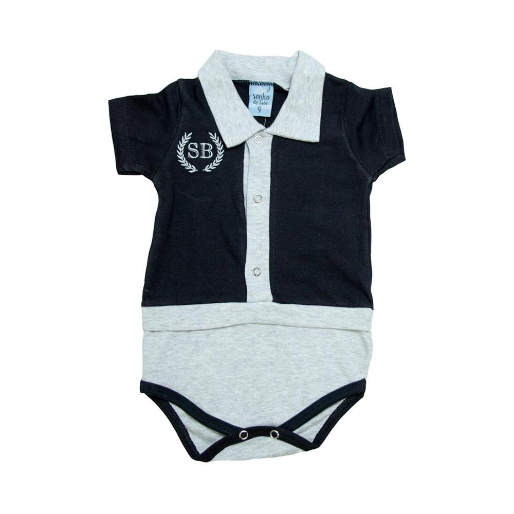 Body Bebê Pólo Preto  - Jeito Infantil