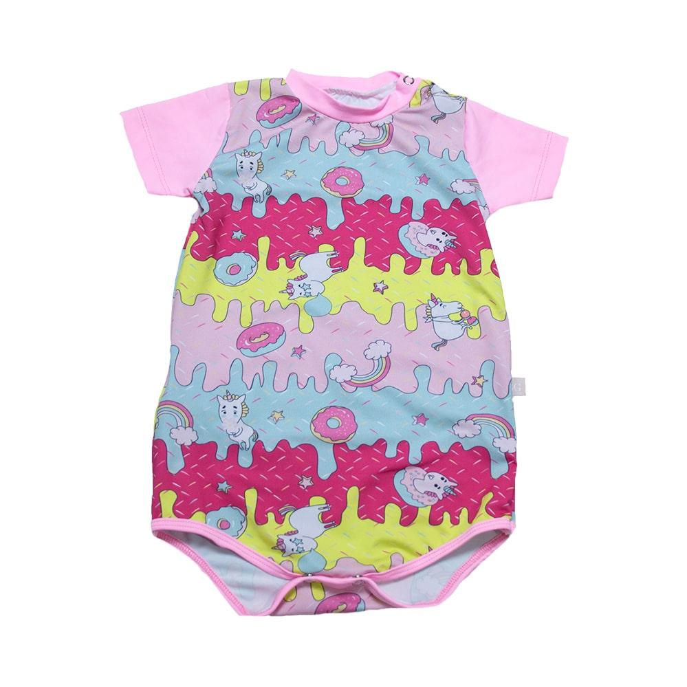 Body Bebê Praia Unicórnio Rosa  - Jeito Infantil