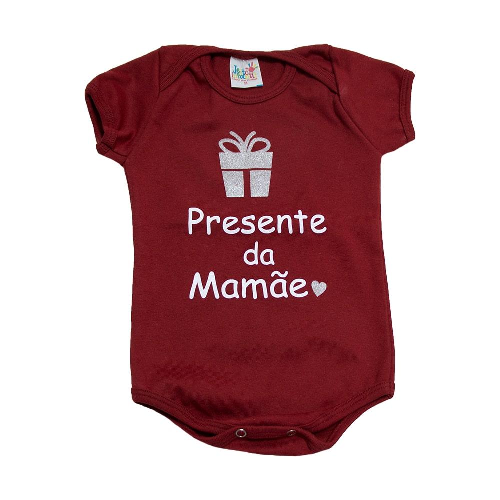 Body Bebê Presente Da Mamãe Bordô  - Jeito Infantil