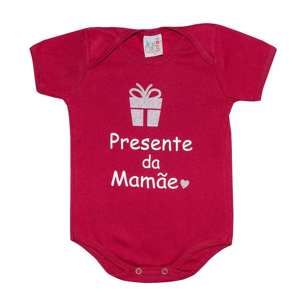 Body Bebê Presente Da Mamãe Vermelho  - Jeito Infantil