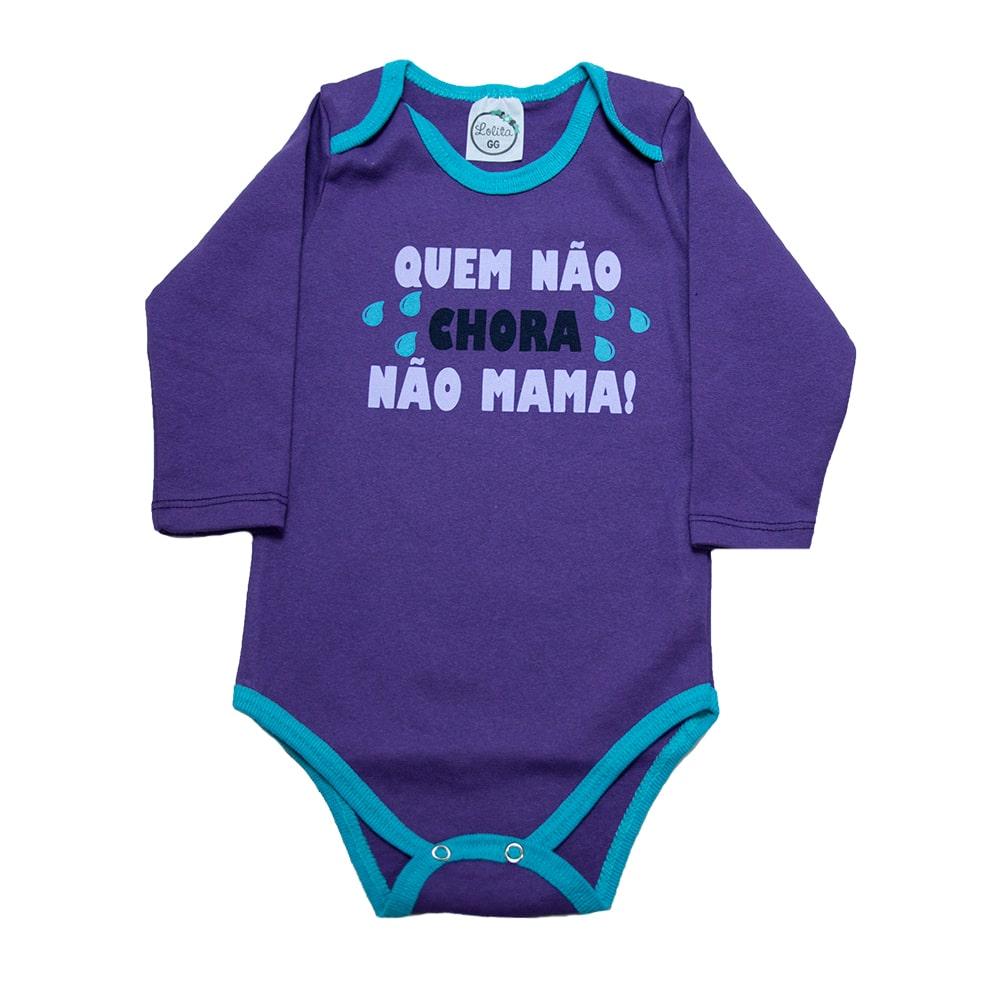 Body Bebê Quem Não Chora Não Mama Roxo Com Azul  - Jeito Infantil