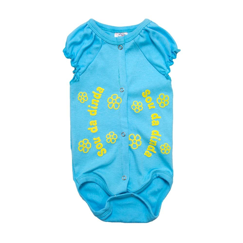 Body Bebê Sou Da Dinda  Azul e Amarelo  - Jeito Infantil