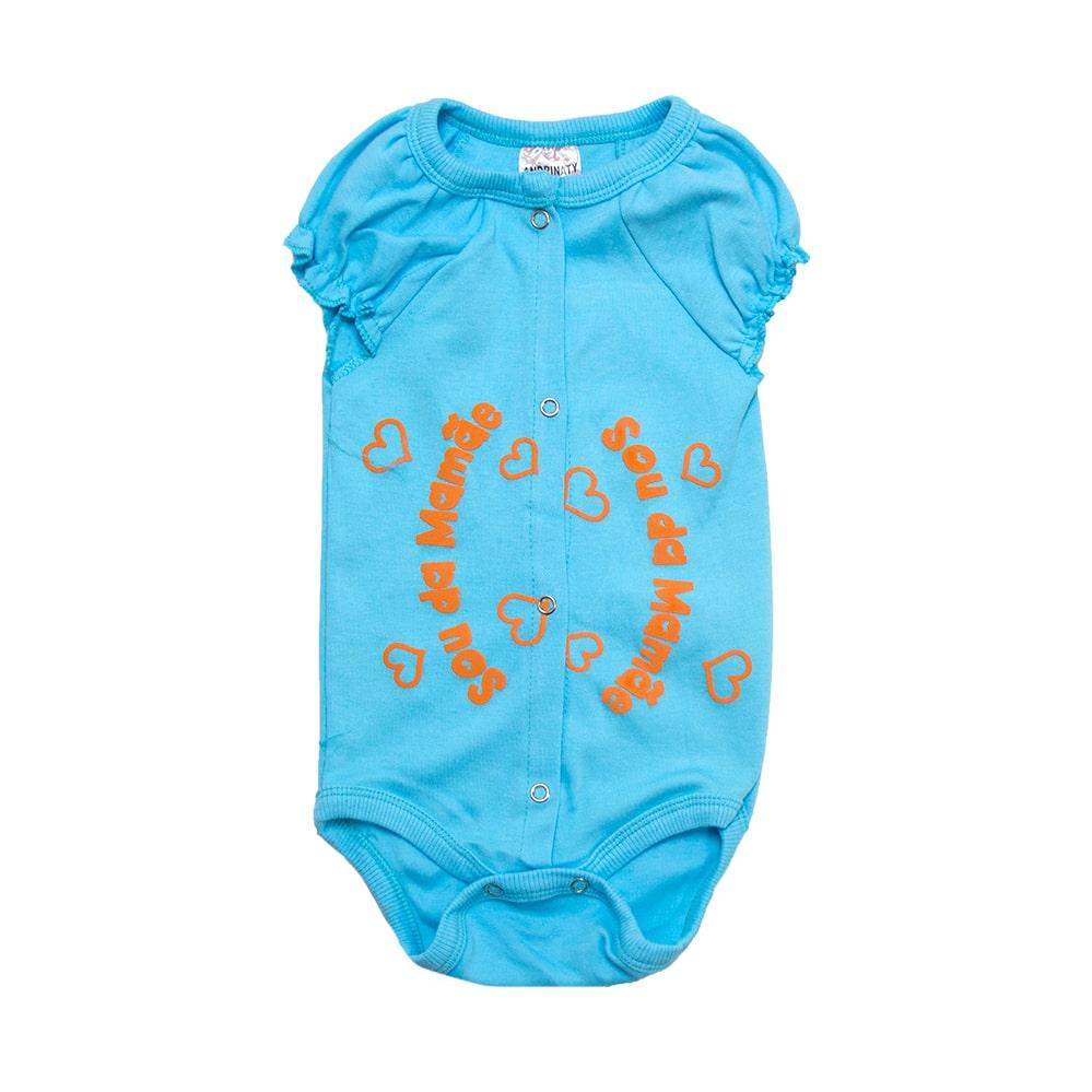 Body Bebê Sou Da Mamãe  Azul Com Laranja  - Jeito Infantil