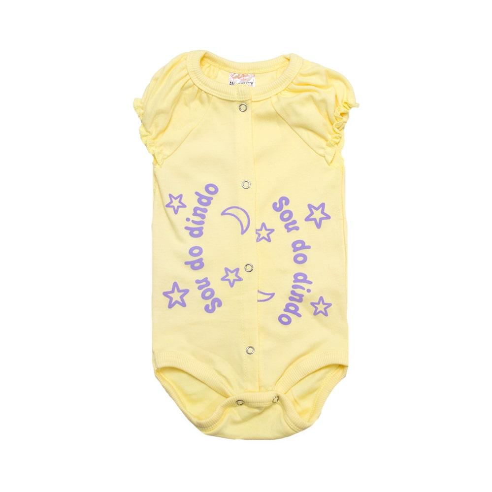 Body Bebê Sou Do Dindo Amarelo com Lilás  - Jeito Infantil