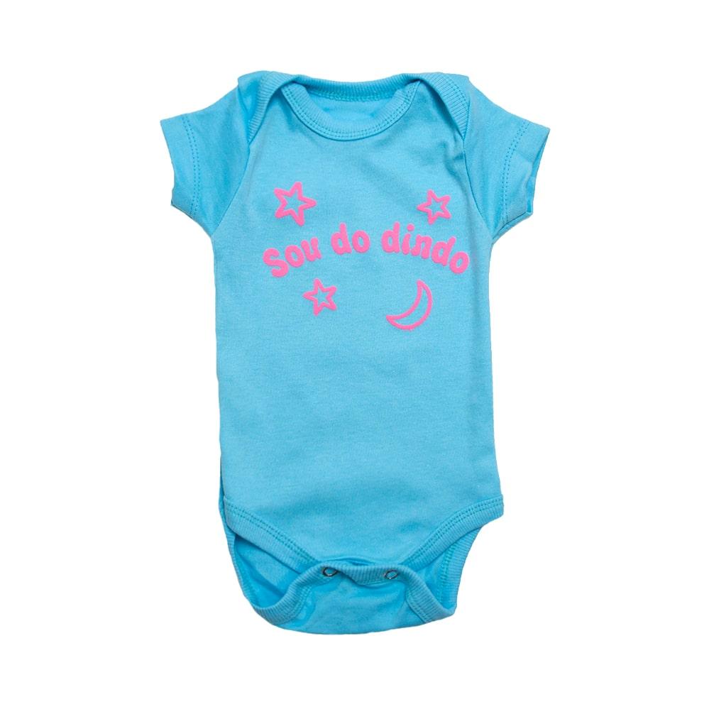 Body Bebê Sou Do Dindo Azul Com Rosa  - Jeito Infantil