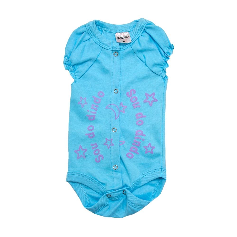 Body Bebê Sou Do Dindo Azul Lilás  - Jeito Infantil