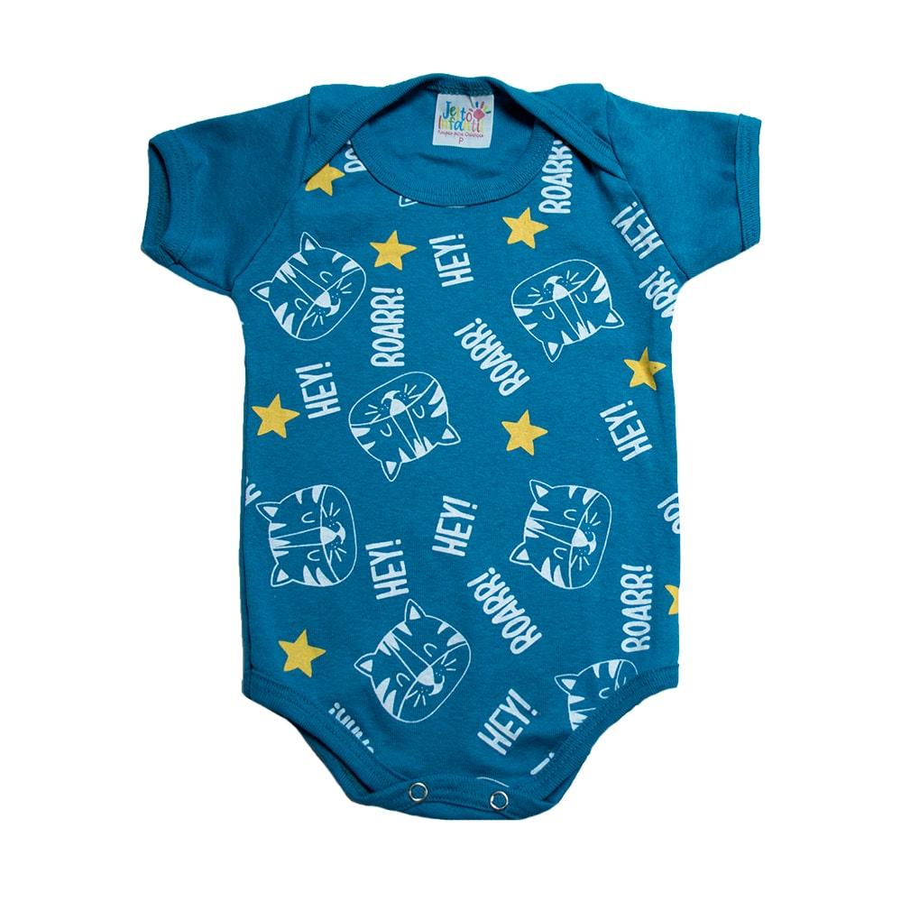 Body Bebê Tigre Jeito Azul Petróleo  - Jeito Infantil