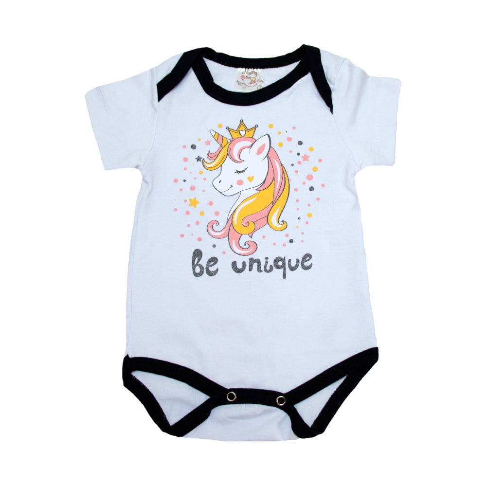 Body Bebê Unicórnio Branco  - Jeito Infantil