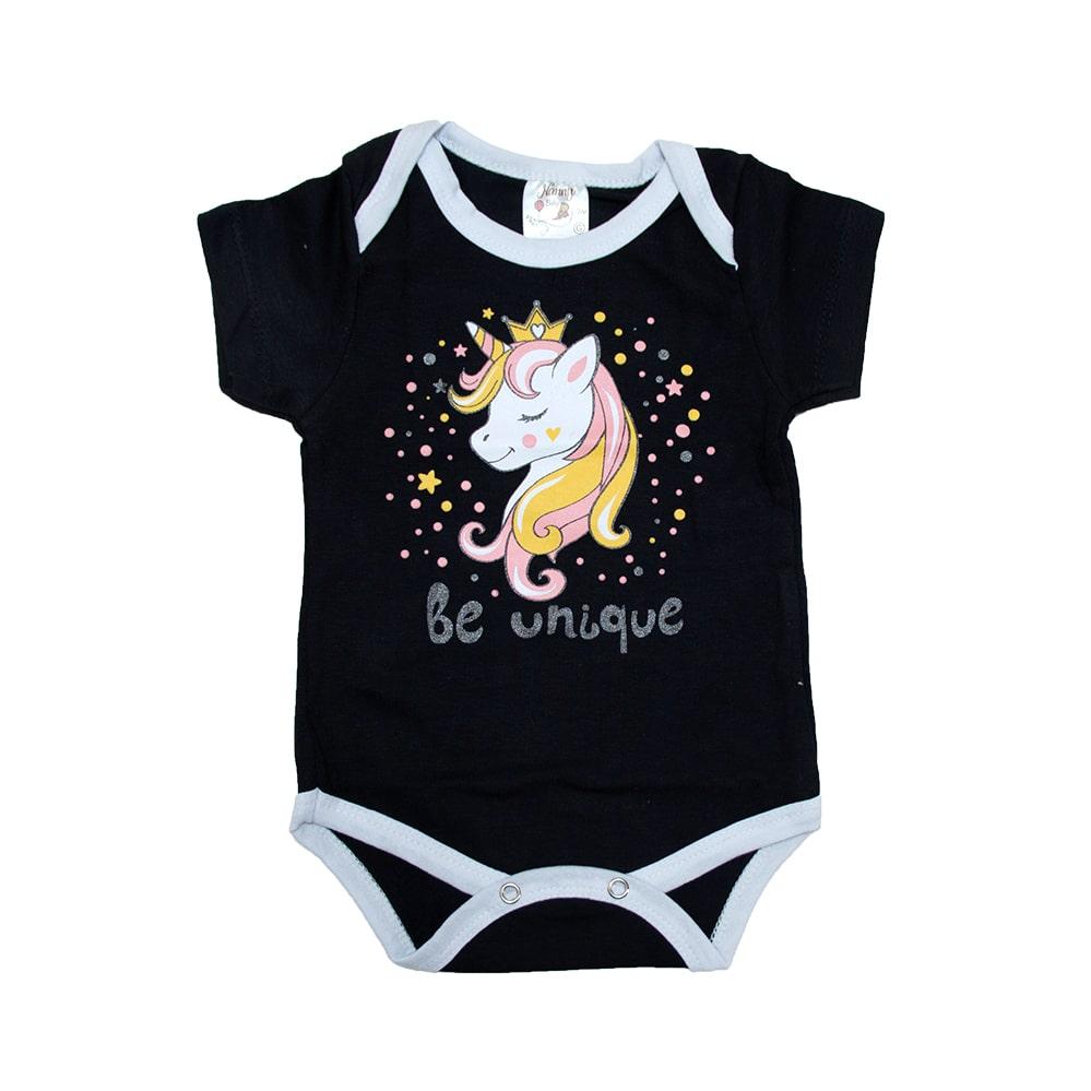 Body Bebê Unicórnio Preto  - Jeito Infantil