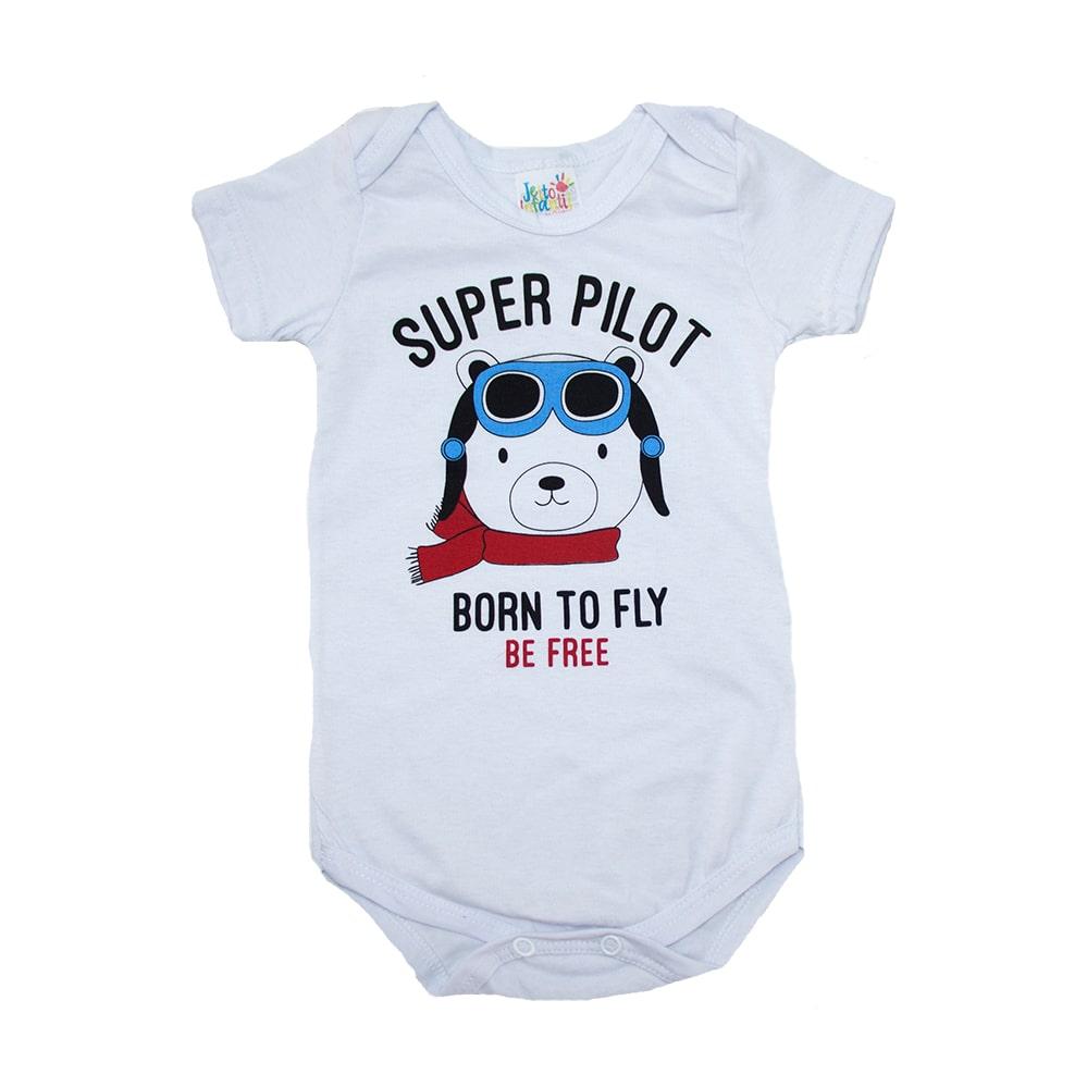 Body Bebê Ursinho Aviador Branco  - Jeito Infantil