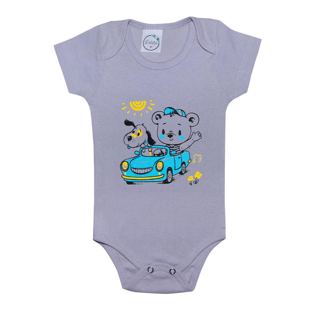 Body Bebê Ursinho Cinza  - Jeito Infantil