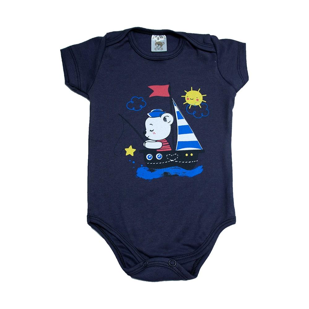 Body Bebê Urso Marinheiro Marinho  - Jeito Infantil