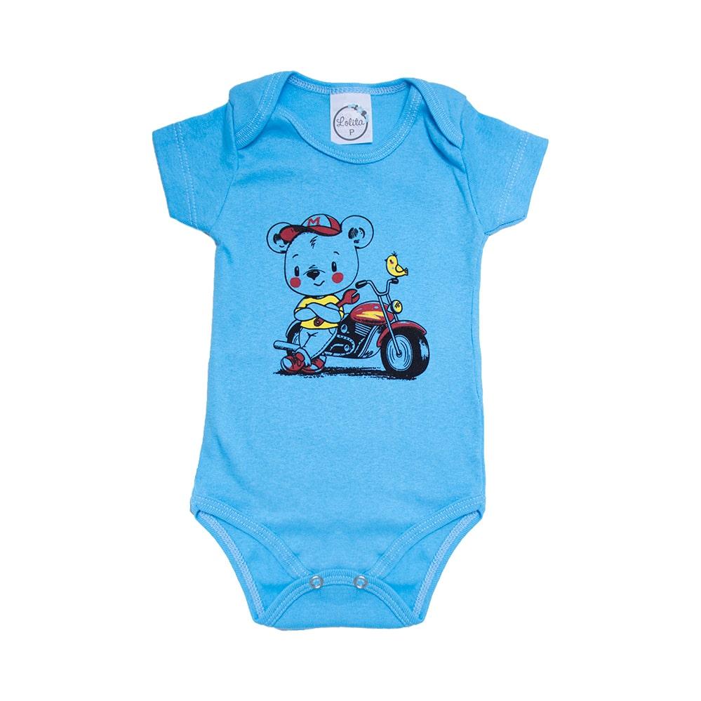 Body Bebê Urso Motoqueiro Azul  - Jeito Infantil