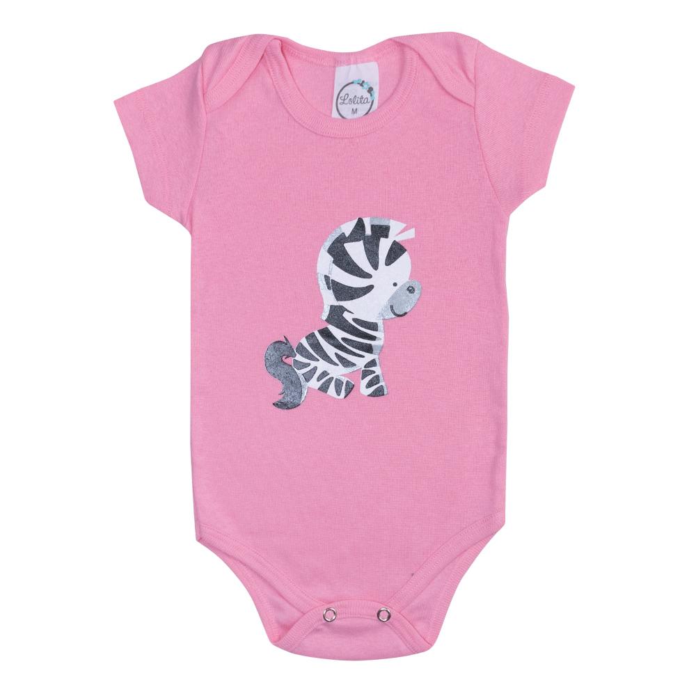 Body Bebê Zebra Rosa  - Jeito Infantil