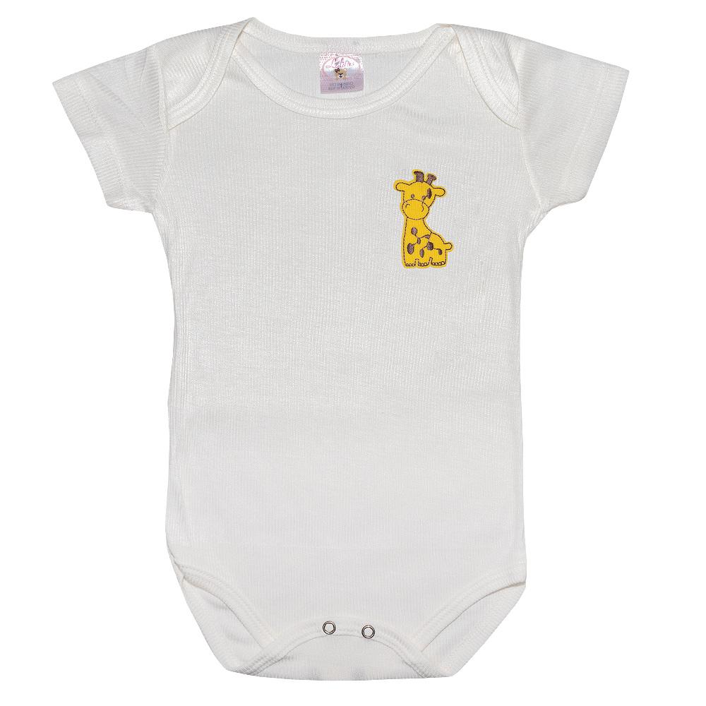Body Infantil Com Aplique Girafa Pérola  - Jeito Infantil