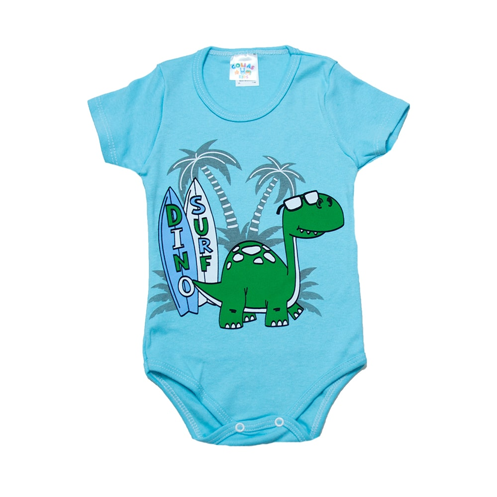 Body Infantil Dino Surf  Azul  - Jeito Infantil