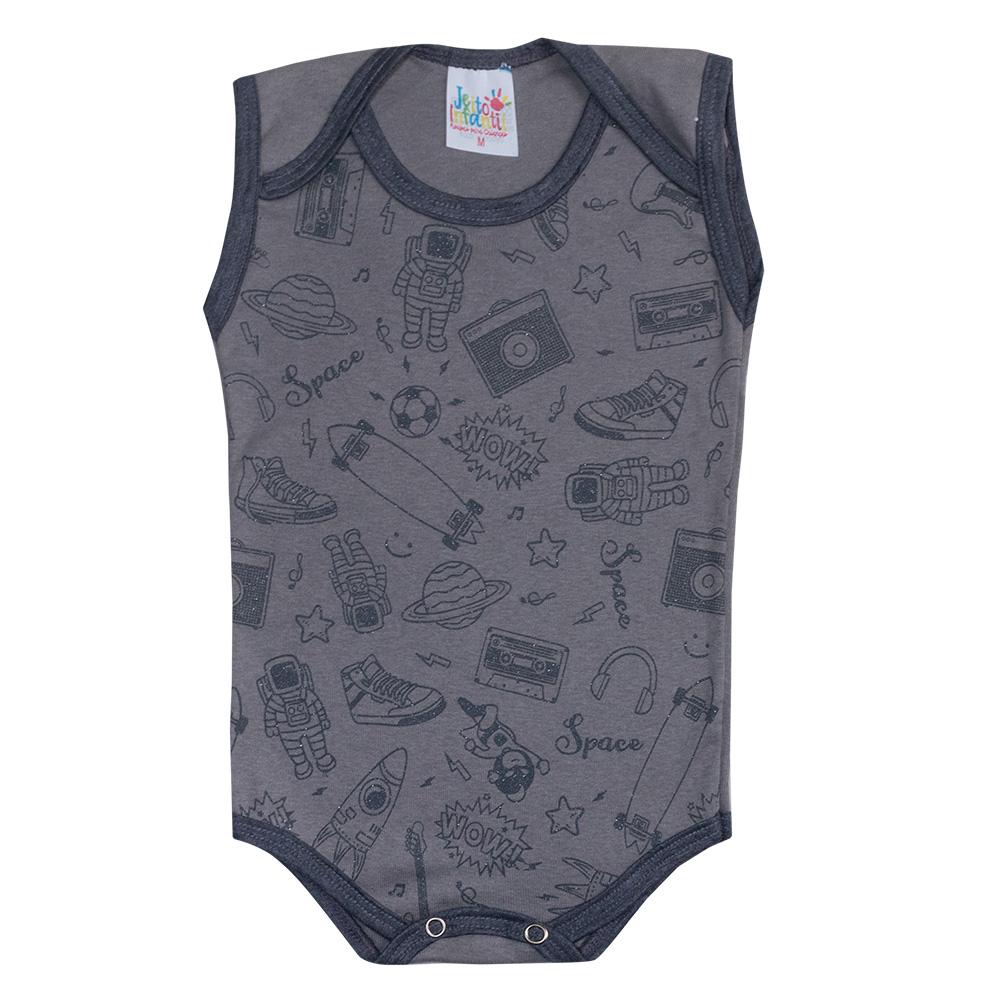 Body Regata Bebê Astronauta Chumbo  - Jeito Infantil