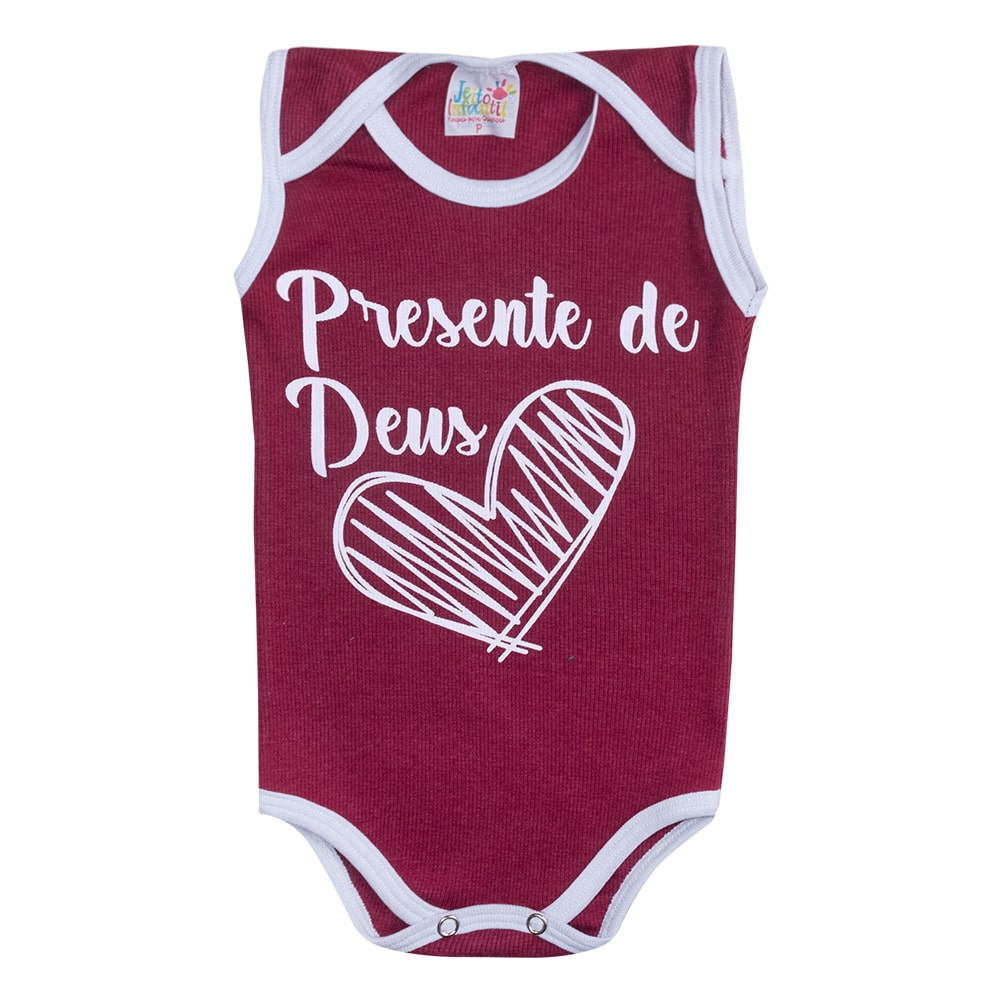 Body Regata Bebê Presente de Deus Bordô  - Jeito Infantil