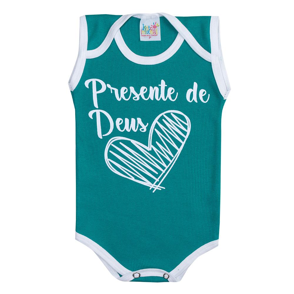 Body Regata Bebê Presente de Deus Verde  - Jeito Infantil
