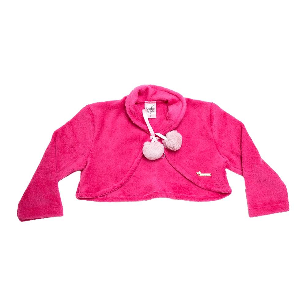 Bolero Soft Bebê/Infantil Com Pompom Pink  - Jeito Infantil