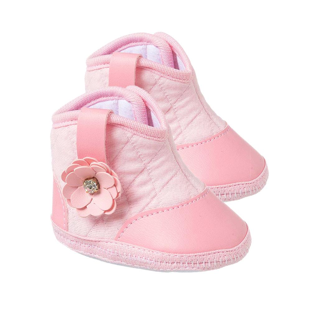 Botinha Bebê Flor Rosa  - Jeito Infantil