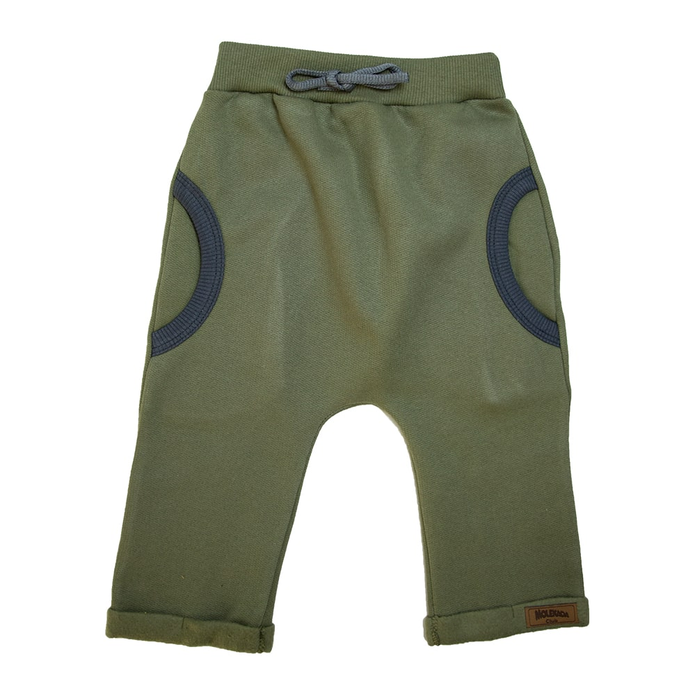 Calça Bebê Saruel Com Bolso Verde Militar  - Jeito Infantil