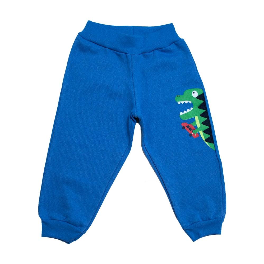 Calça Infantil Aplique Dino Azul  - Jeito Infantil