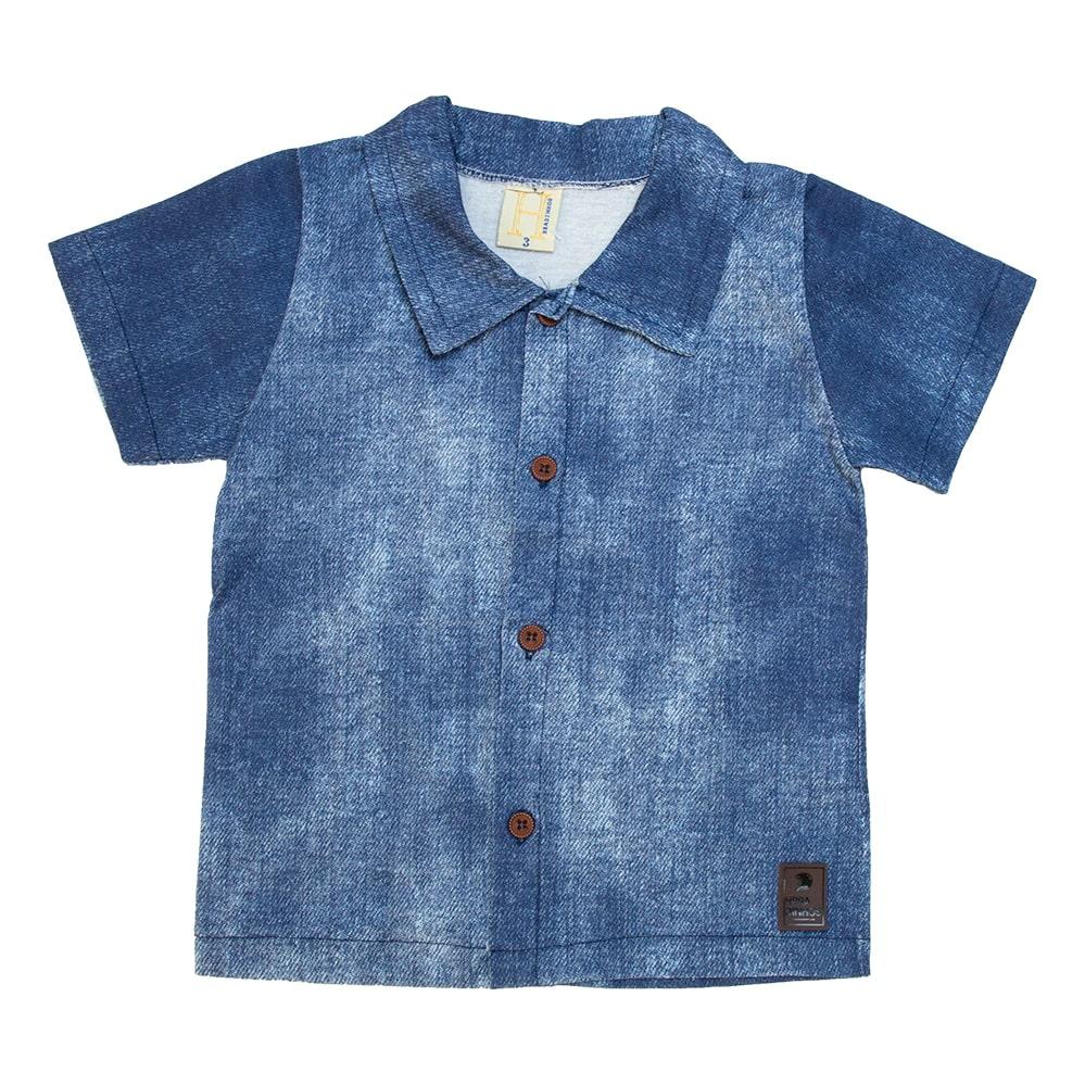 Camisa Bebê Com Botão Azul  - Jeito Infantil