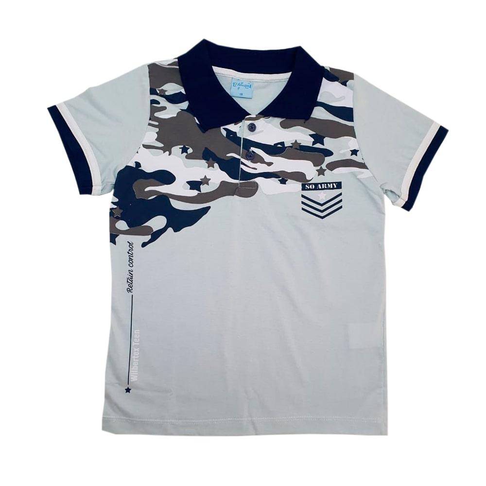 Camisa Juvenil Gola Polo Cinza  - Jeito Infantil