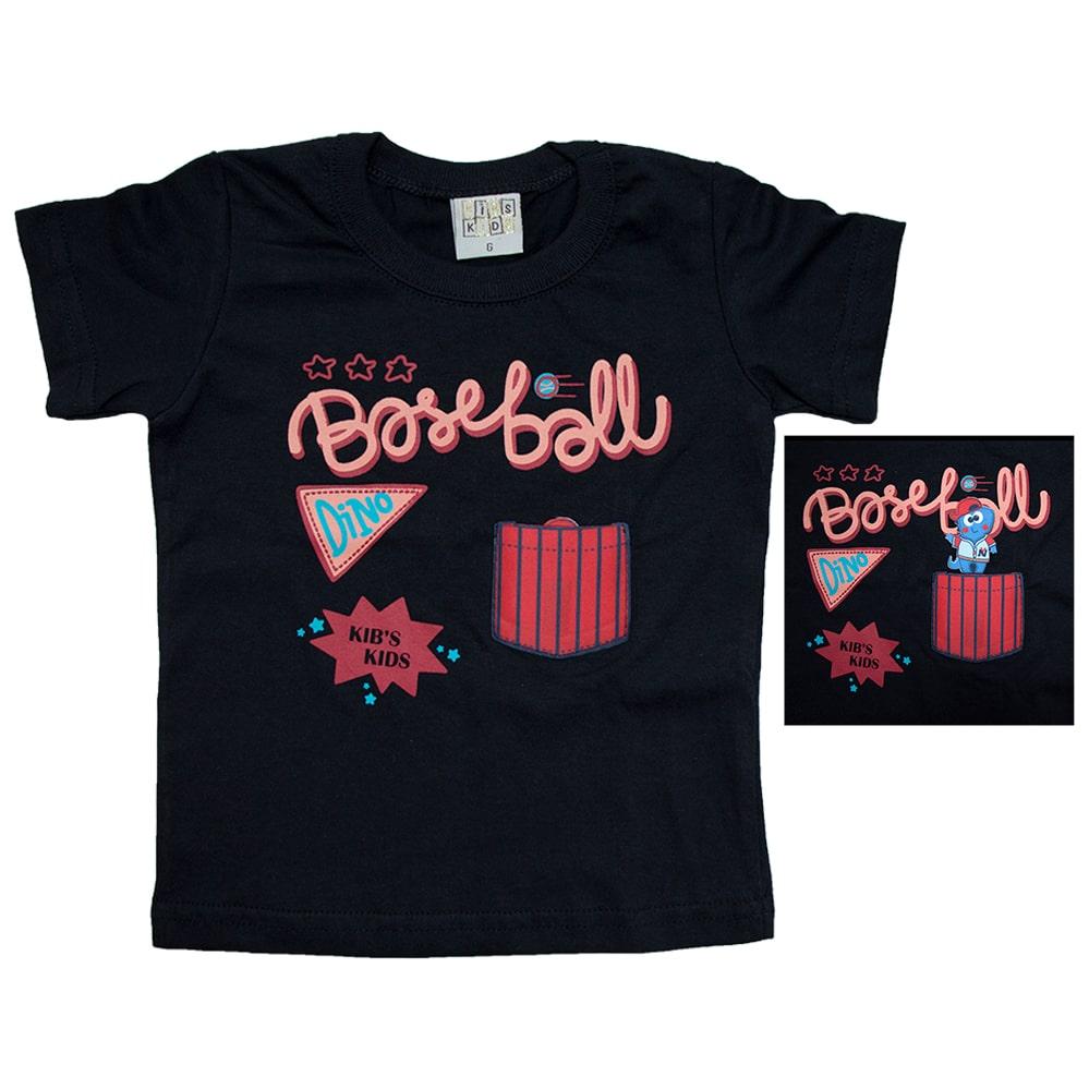 Camiseta Bebê Baiseball Preto  - Jeito Infantil