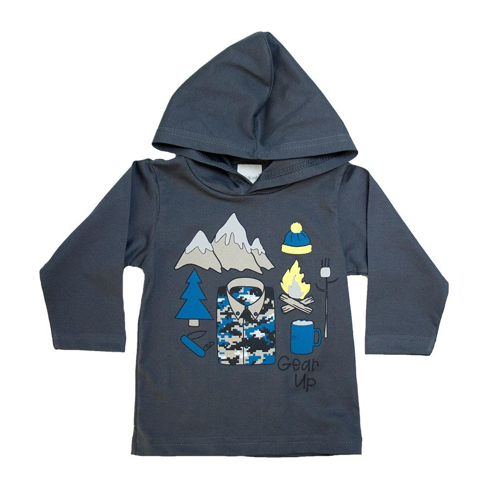 Camiseta Bebê Com Capuz Chumbo  - Jeito Infantil