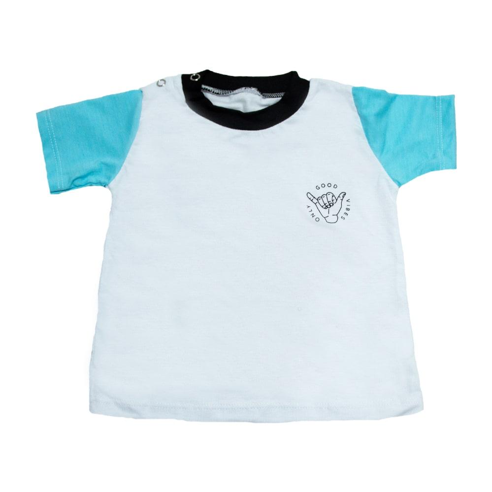 Camiseta Bebê Good Vibes Branca  - Jeito Infantil