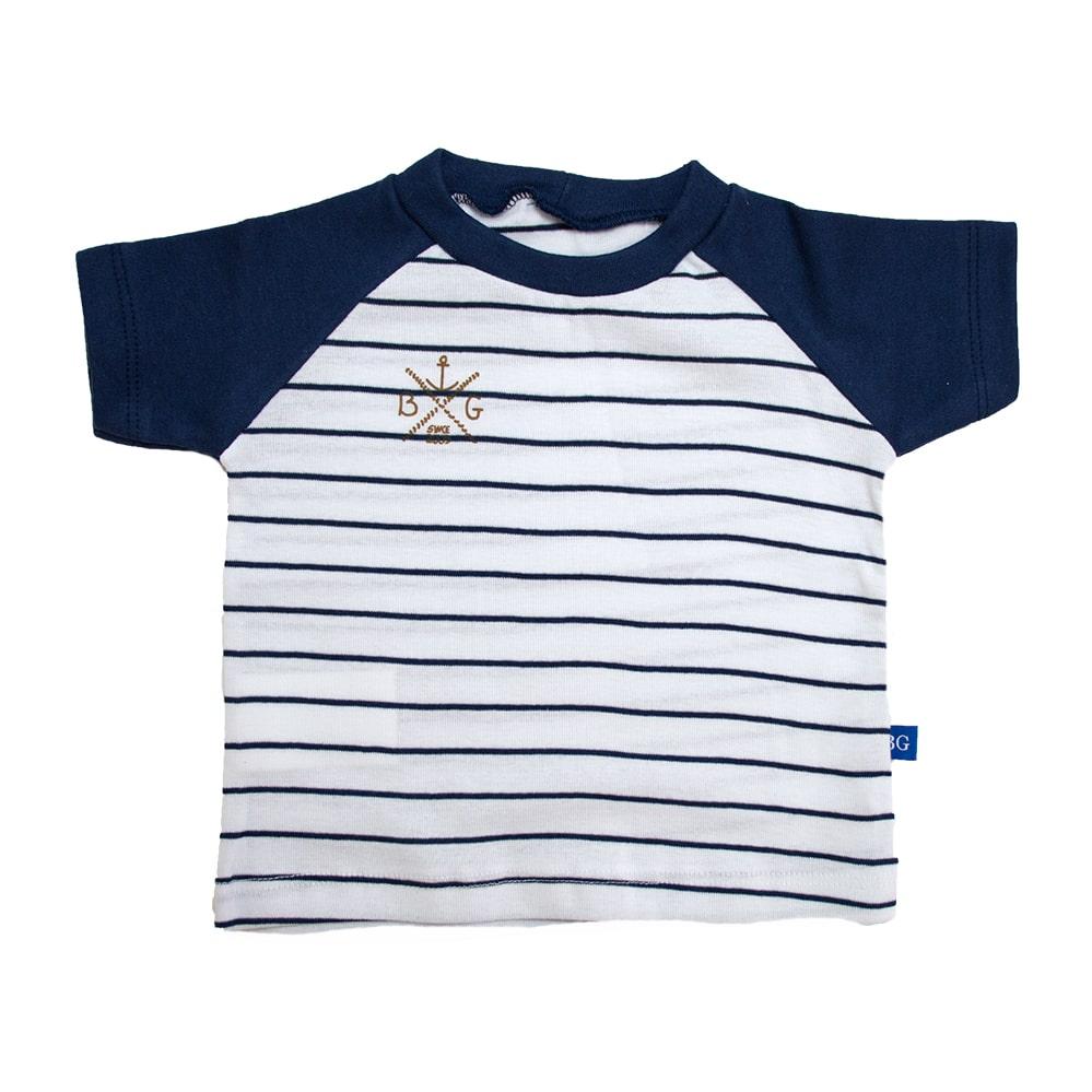 Camiseta Bebê Listrado Marinho com Branco  - Jeito Infantil