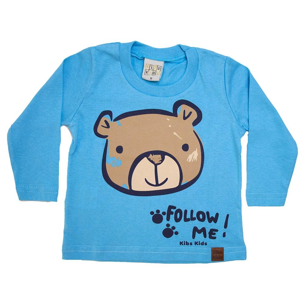 Camiseta Bebê Manga Longa Urso Azul  - Jeito Infantil