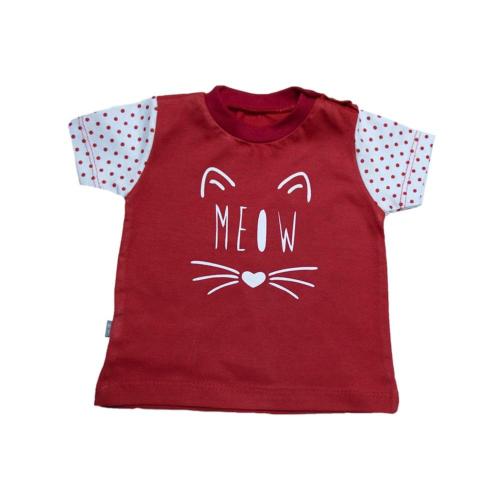 Camiseta Bebê Meow Vermelho  - Jeito Infantil