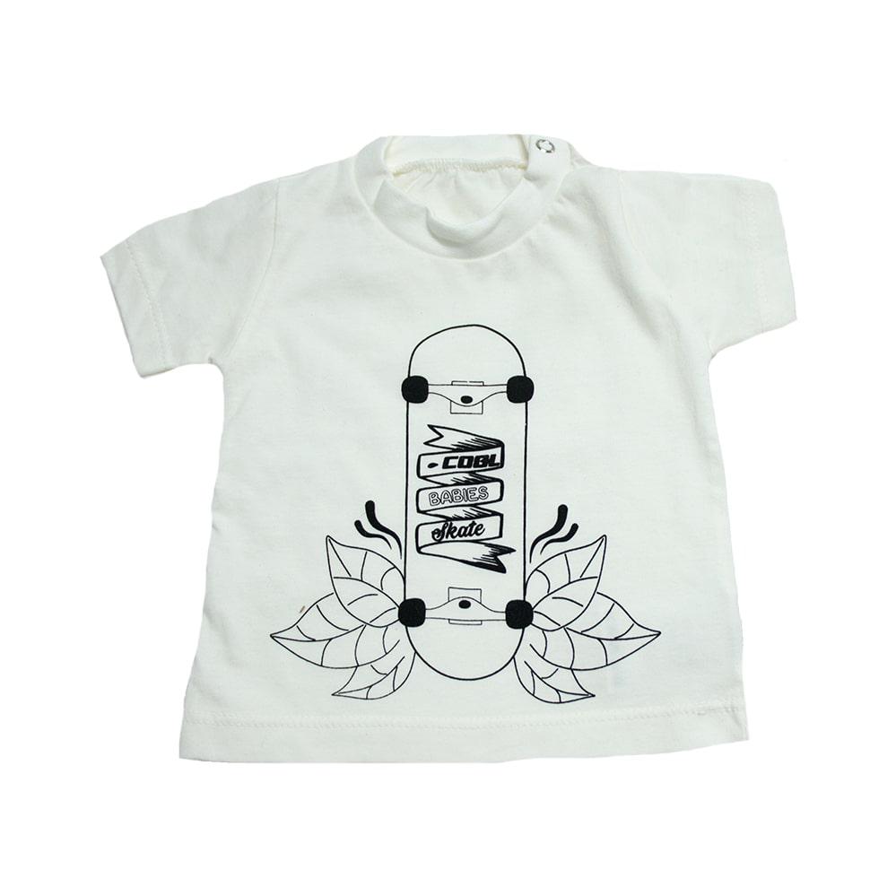 Camiseta Bebê Skate Pérola  - Jeito Infantil