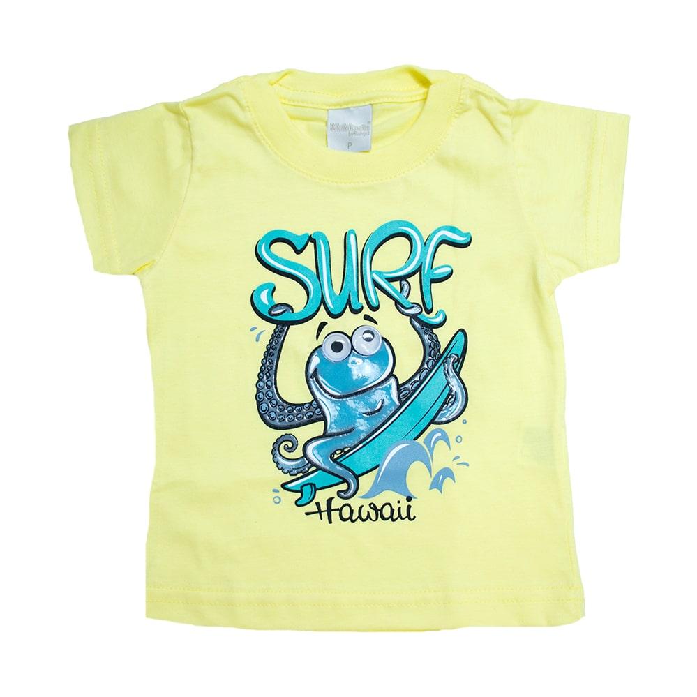 Camiseta Bebê Surf Amarelo  - Jeito Infantil