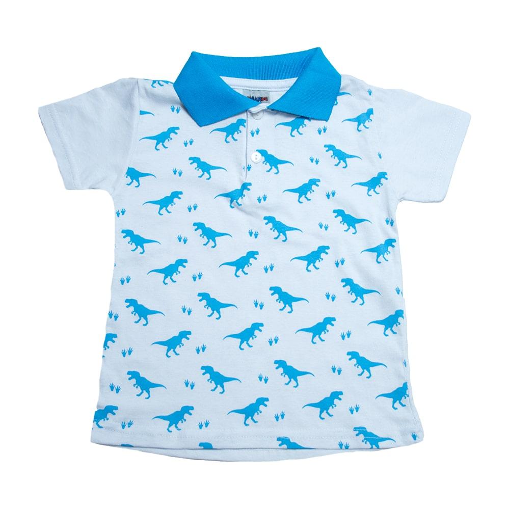 Camiseta Gola Polo Infantil Dino Branco  - Jeito Infantil