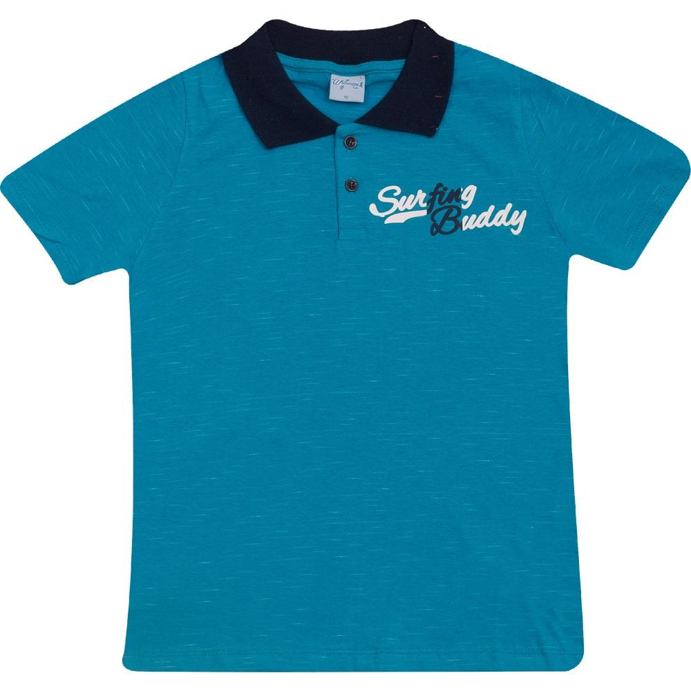 Camiseta Gola Polo Juvenil Azul  - Jeito Infantil