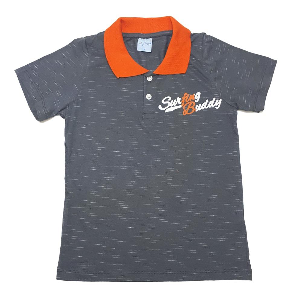 Camiseta Gola Polo Juvenil Chumbo  - Jeito Infantil