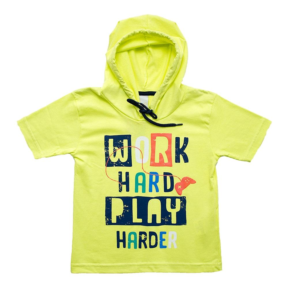 Camiseta Infantil Com Capuz Amarelo  - Jeito Infantil