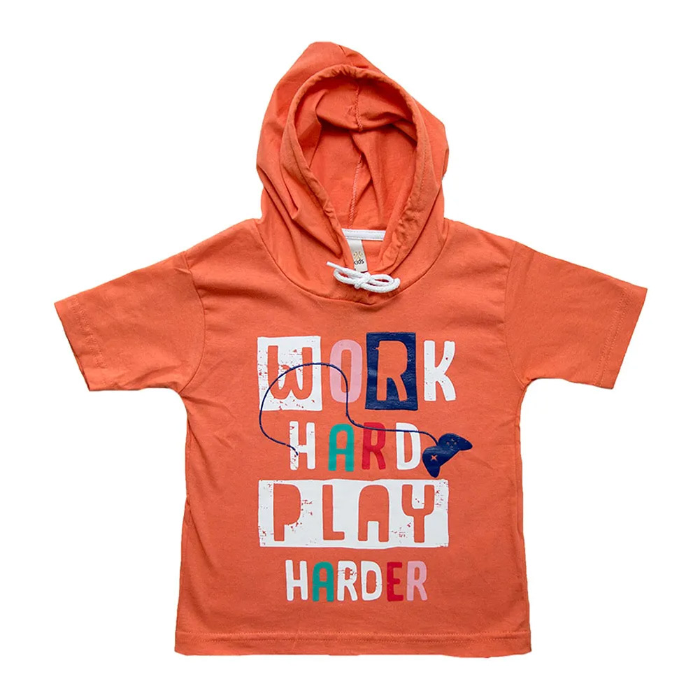 Camiseta Infantil Com Capuz Laranja  - Jeito Infantil
