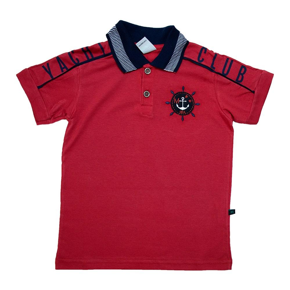 Camiseta Infantil Gola Polo Club Vermelho  - Jeito Infantil