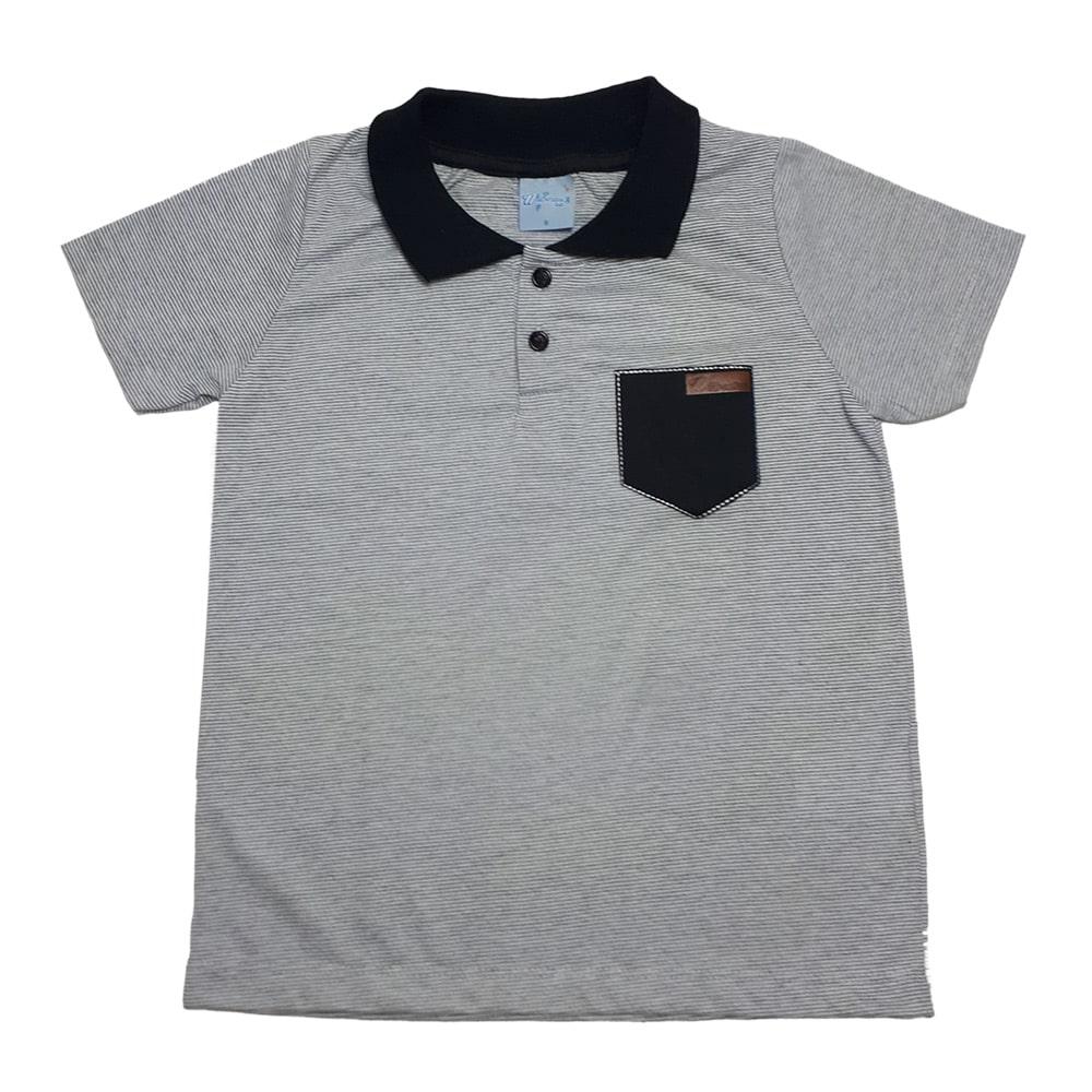 Camiseta Infantil Gola Polo Listras Mescla  - Jeito Infantil
