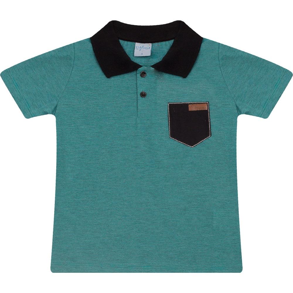 Camiseta Infantil Gola Polo Listras Verde  - Jeito Infantil