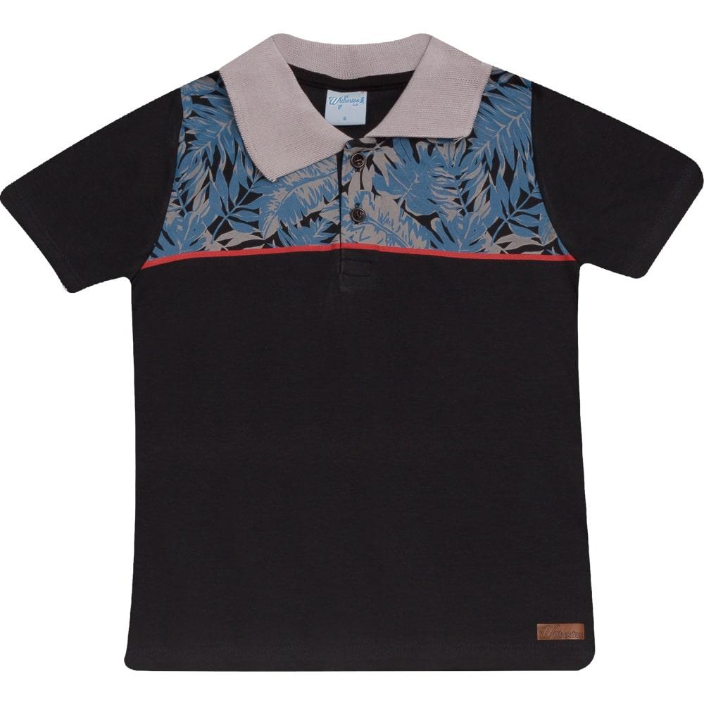 Camiseta Infantil Gola Polo Preta  - Jeito Infantil