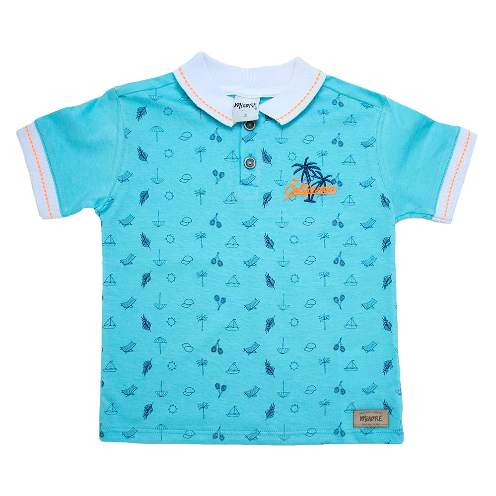 Camiseta Infantil Gola Polo Summer Azul  - Jeito Infantil